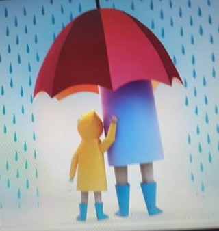 anya gyerek esőben kép