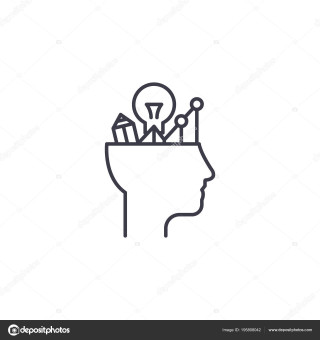 Analytical thinking linear icon concept. Analytical thinking line vector sign, symbol, illustration.